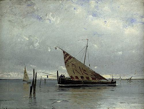 Fischer, Eduard: Venezianisches Marktboot in der Lagune vor Venedig