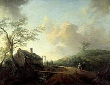 Niederländisch: um 1740. Hügelige Landschaft mit Bauerngehöft