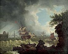 Niederländisch: um 1800. Segelschiffe in stürmischer See vor einem Hafen