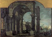 Bellotto, Bernardo - Umkreis: Venezianisches Capriccio mit Säulenportikus