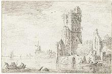 Noorde, Cornelis van: Flusslandschaft mit Kirchenruine