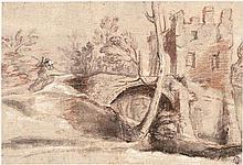 Bolognesisch: 17. Jh. Flusslandschaft mit Brücke und einer Burg.