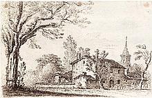 Cantagallina, Remigio - Umkreis: Landschaft mit Gehöft und Kirchturm; Ansicht eines Palazzo.
