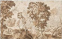 Flämisch: 17. Jh. Waldlandschaft mit sitzendem Wanderer rechts und zwei Personen links