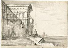 Baur, Johann Wilhelm: Palastarchitektur an einer Hafenpromenade