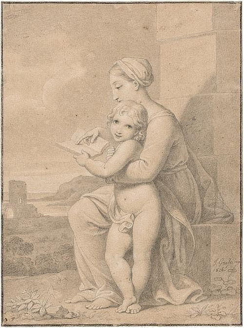 Grassi, Josef Maria: Junge Mutter ihrem Kind vorlesend, im Hintergrund eine südliche Landschaft