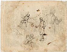 Italienisch: um 1680. Studienblatt mit stehendem Edelmann, zwei Putti und Rückenfigur