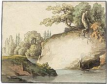 Deutsch: um 1790. Flusslandschaft mit hellem Felsen