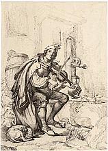 Sagstätter, Gottfried Hermann: Fahrender Musiker am Brunnen