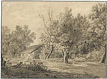 Süddeutsch: um 1830. Landschaft mit Eichen bei einem Gehöft