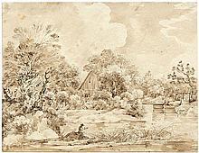 Süddeutsch: um 1830. Isarlandschaft mit Fischer