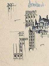 Poelzig, Hans: Fassadenstudien für einen Festbau