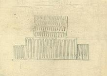 Poelzig, Hans: Großes Schauspielhaus Berlin, Fassadenaufrißstudien Frontansicht