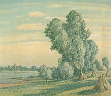 Clarenbach, Max: Am Niederrhein, Blick vom gegenüber liegenden Ufer auf Wittlaer
