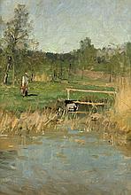 Bergström, Alfred: Landschaft mit Wasserträgerin