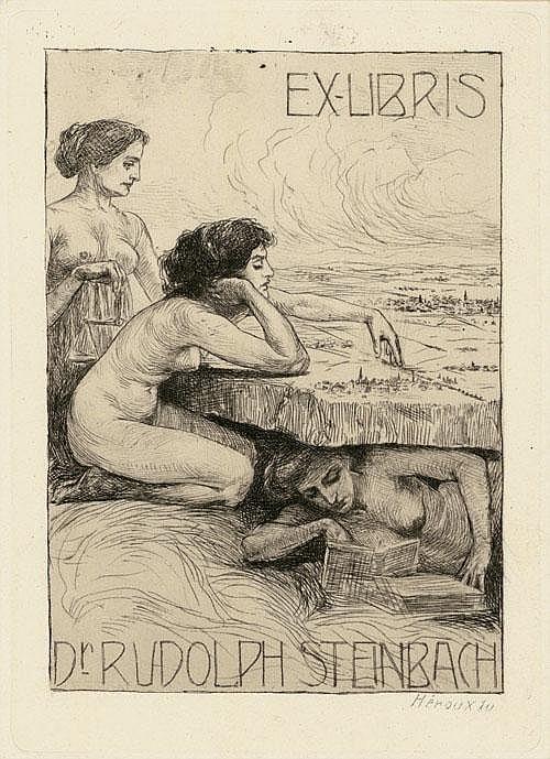 Héroux, Bruno: 4 Exlibris und 5 Beigaben