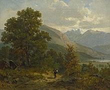 Mühlig, Bernhard: Alpenländische Landschaft mit Wanderer