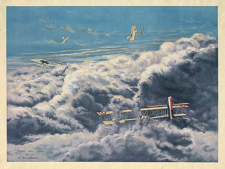 Bourguignon, Maurice-Jean: Voisin contre Fokker Litho. 1916