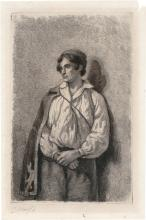 Dubourcq, Pierre Louis: Junger Mann mit Umhang, an einer Mauer lehnend