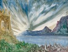 Nüsslein, Heinrich: Tempel an einer Meeresbucht bei Sonnenaufgang