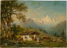 Reinhold, Franz: Alpenlandschaft mit Almhütte und Vieh; Gardekürassier bei der Rast in einem Dorf