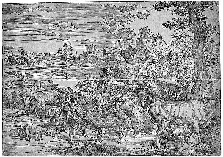 Boldrini, Niccolò: Die Landschaft mit der Kuhmelkerin