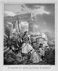 Heß, Peter von: Ein Kapitän mit seinen Pallikaren im Gefecht