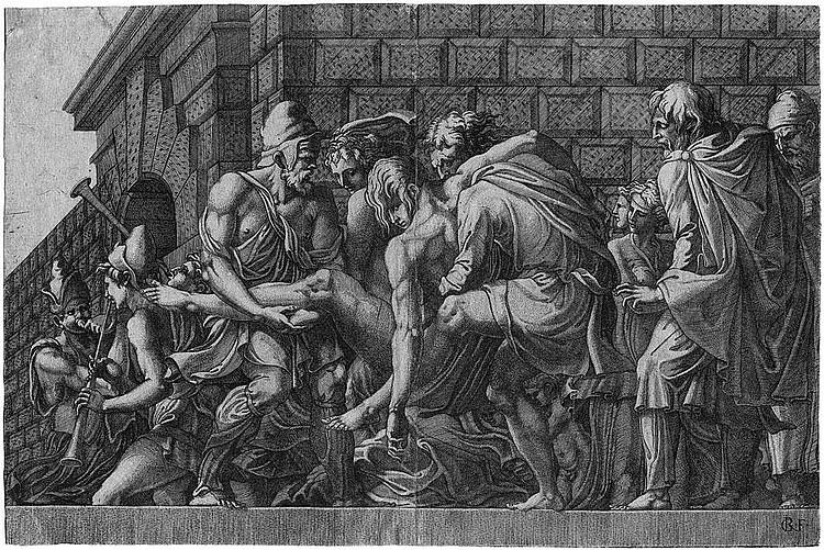 Fagiuoli, Girolamo: Der verwundete Paris wird nach Troja getragen