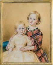 Saar, Karl von: Miniatur Doppel Portrait zweier Kinder, der Junge in Schottenrock, das Mädchen in Weiß