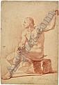 Herz, Johann Daniel d. Ä. : Männlicher Akt, auf einem Stein sitzend, Johann Daniel (1693) Herz, Click for value