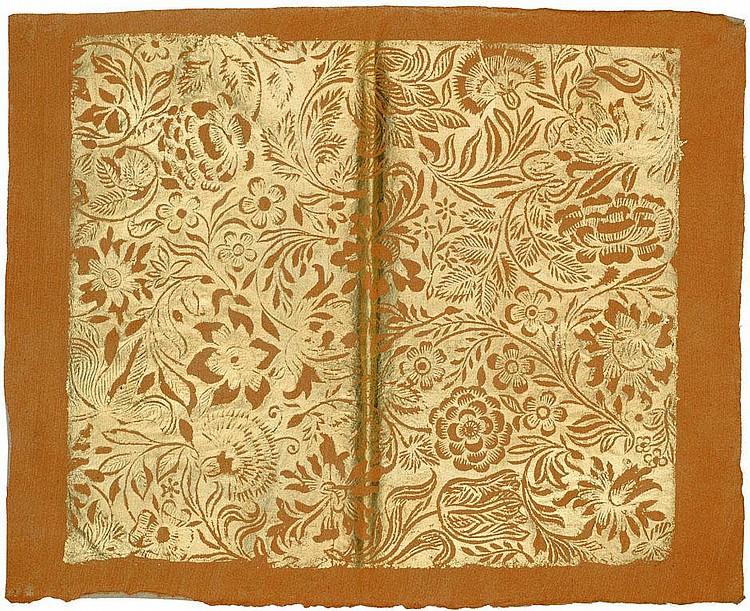 Munck, Johann Carl: Blumen. Goldbrokatpapier auf Orange. Um 1780