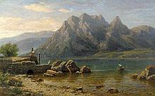 Pape, Eduard: Blick über den Thuner See mit der Stockhornkette