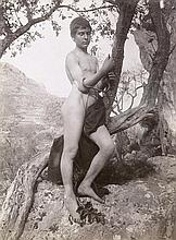 Gloeden, Wilhelm von: Nude boy leaning on tree with acanthus leaf; Bare-chested young man and boy dressed as girl with vase