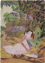 Melzer, Moriz: Fabelwesen in kubistischer Landschaft