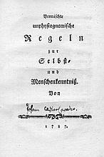 Lavater, Johann Caspar: Vermischte unphysiognomische Regeln