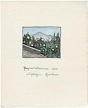 Hesse, Hermann: Gedichtmanuskript mit Aquarell
