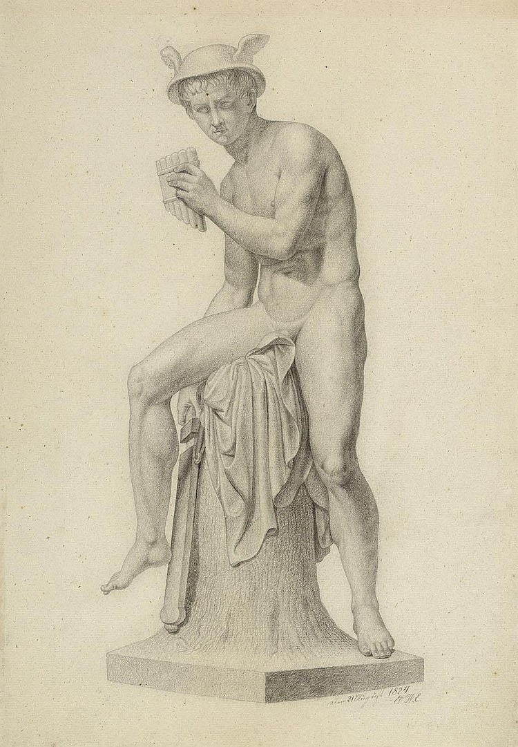 Eckersberg, Erling Carl Vilhelm: Merkur mit Panflöte, das Schwert ziehend