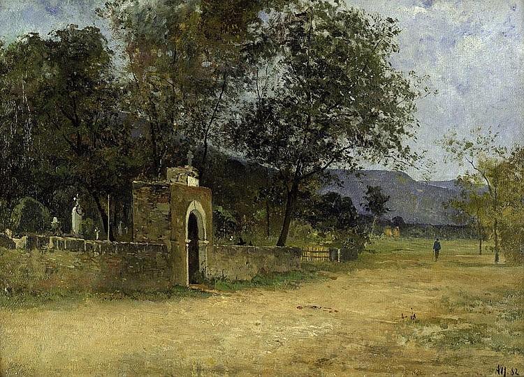 Alt, Theodor: Blick auf ein Friedhofsportal unter Bäumen