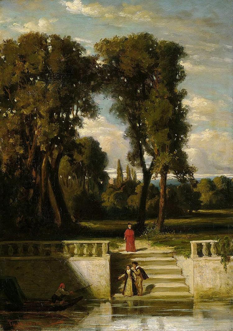 Wilberg, Christian: Abendstimmung im Park einer italienischen Villa