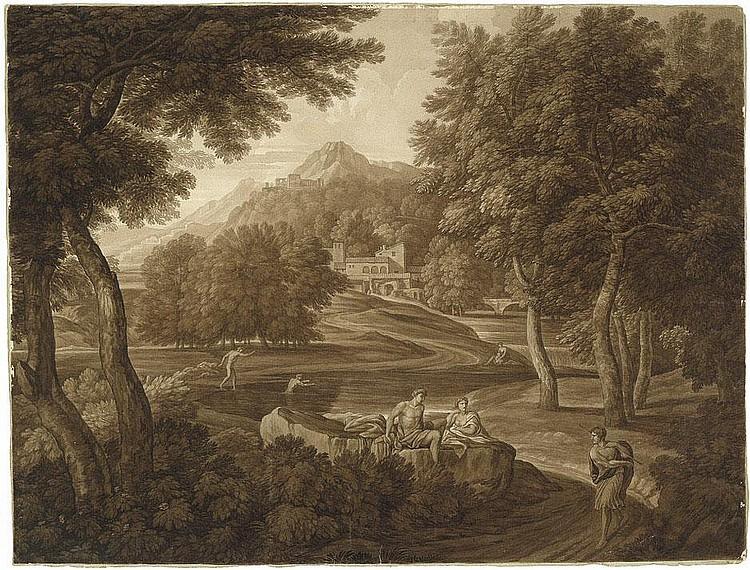 Wallis, George Augustus : Arkadische Landschaft mit Staffage