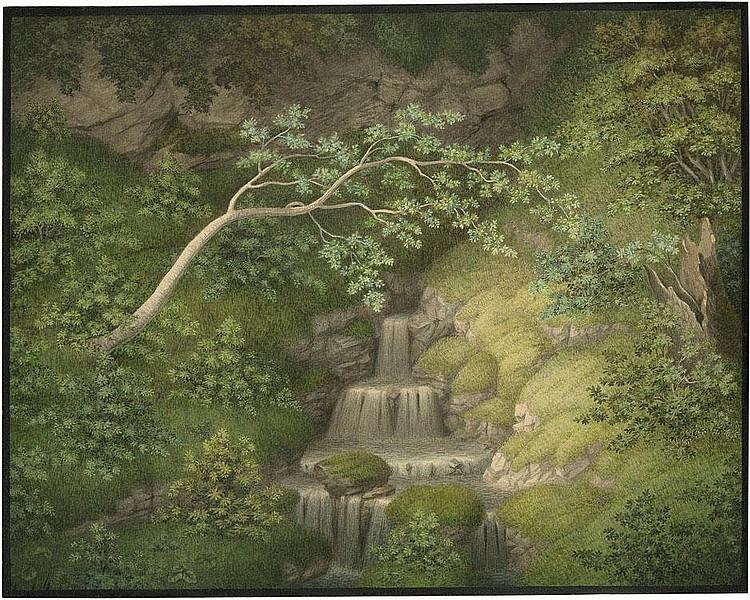 Follenweider, Johann Rudolf: Waldstück mit Felsen und kleinem Quellwasserfall