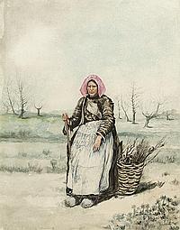 Bastien-Lepage, Jules: Bretonische alte Bäuerin, sitzend mit Weidenkorb