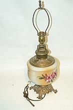Antique Oil Lamp A fine electrified lamp with a large hand painted fount and brass stand.