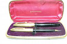 Vintage Sheaffer 14k Gold Fountain Pen Set w/ Case A fine set here with 14k gold.