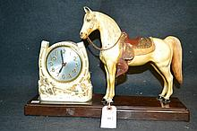 Vintage Horse Clock A great mid 20th century piece here. A celluloid base with a horse statue and a clock framed by a horseshoe.
