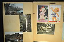 Vintage Trading Cards in Scrapbook A great lot of antique brand name trade cards as well as calling cards.