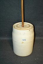 3 Gallon Ruchel's Stoneware Butter Churn A few cracks and chips on this piece, and it is missing the handle, but still has what appears to be the original churning rod.
