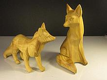 Chinese Wooden Carved 2 Foxes