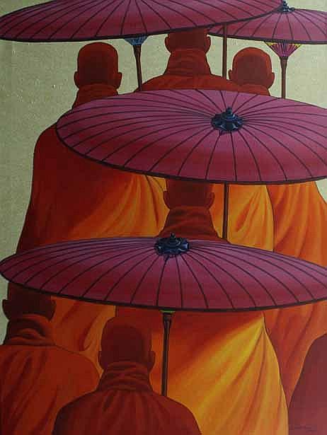 Min Wae Aung (Burmese, born 1960) Buddhist Monks 2000 acrylic on canvas
