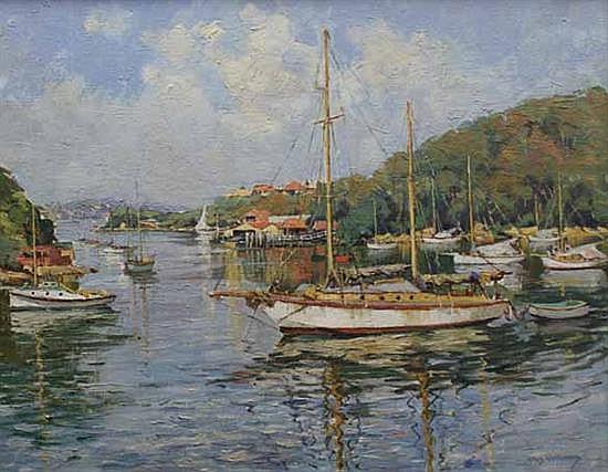 Rhys Williams (1894-1976) Safe Anchorage oil on canvas on board